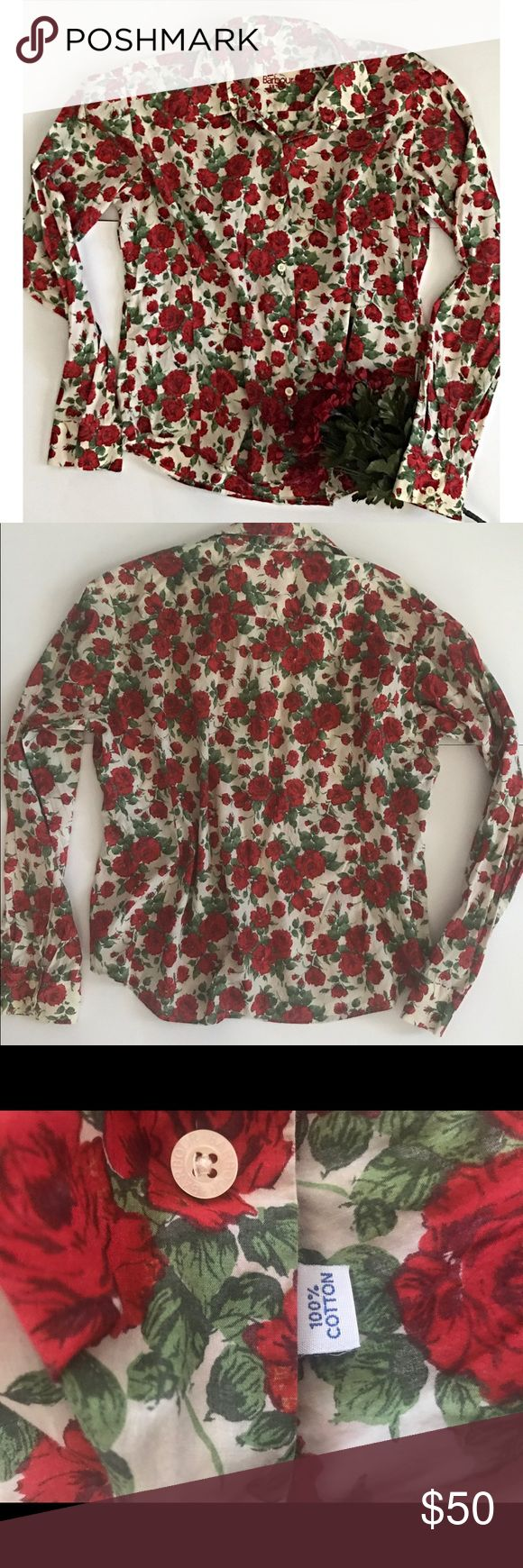 Barbour Liberty Rose woman's button up🌹 For sale a gently worn Barbour woman's liberty rose button up long sleeve top. 100% cotton. Measurements length 27 inches, sleeves 24 1/2 inches. In awesome condition . Feel free to ask me anything, thank you💋 Barbour Tops Button Down Shirts