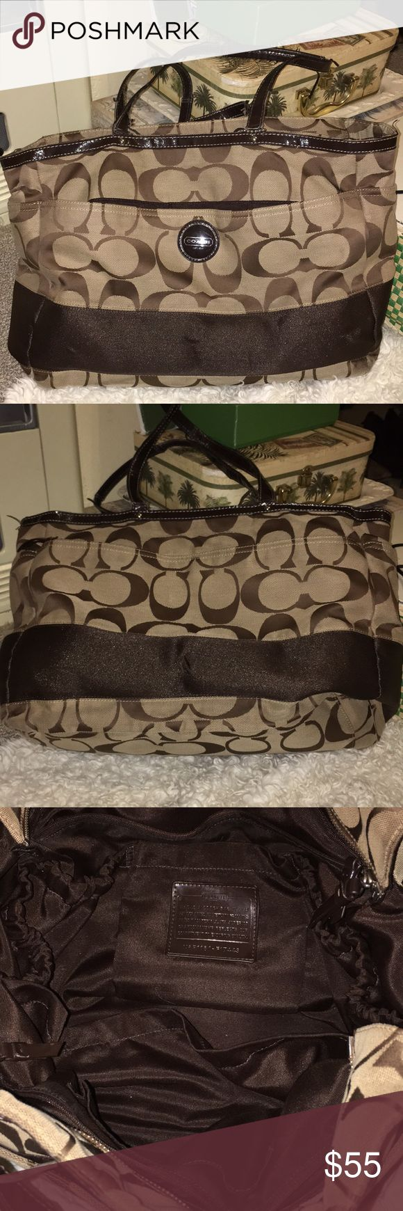 Coach Diaper Bag Excellent condition with the exception of wear on the handles. Shown in pic. Hardly used at all. This is a steal! Coach Bags Baby Bags