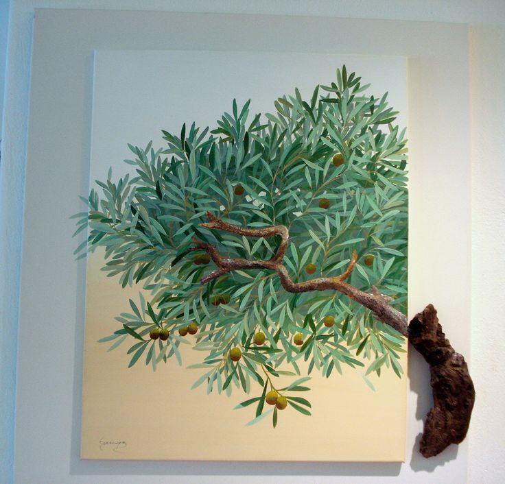 Olive Tree painting with natural olive wood.