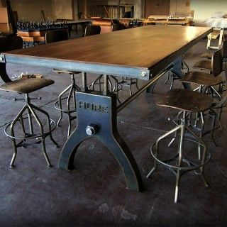 Amazing industrial style table base and stools! Wouldn't have it for the dining room but i'd find a place elsewhere!