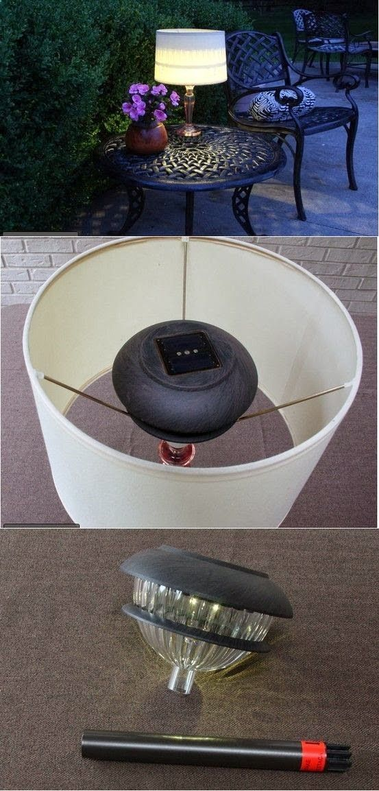 use a landscape light fitted down inside a lamp base...top off with lamp shade for easy outdoor light!