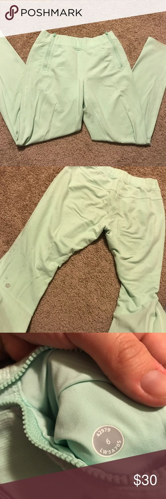 Lululemon Skinny  Sweats pretty well worn, there are some marks on both ankles and a small drop of paint on one of the zippered pockets. pilling in between the legs is shown. there's two small spots above the logo. make an offer! lululemon athletica Pants Skinny