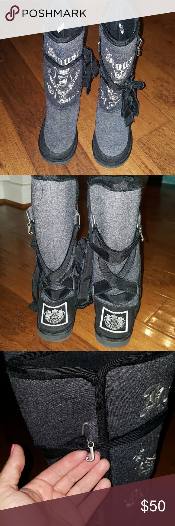 """Sz 6 Juicy Couture gray & black boots VGUC!  They lace up for decoration and are embroidered with """"house of Juicy"""" Juicy Couture Shoes Winter & Rain Boots"""