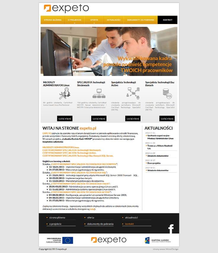 Strona internetowa Expeto to prawdziwie Ekspresowa produkcja! Przygotowanie layoutu, pocięcie i wdrożenie witryny zajęło nam mniej niż dwa dni!  To doskonały dowód na to, iz chcieć to móc:)