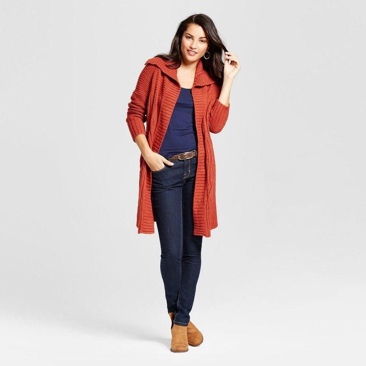 Women's Shawl Collar Car Coat - Merona Rust (Red) XL