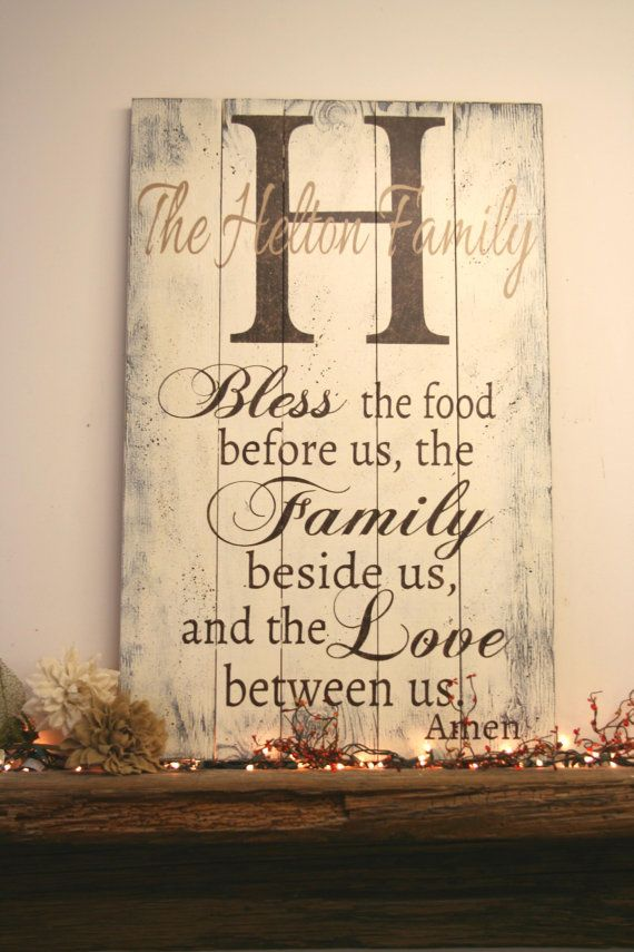 Bless The Food Before Us Pallet Sign Name Personalized Dining Room Rustic Wood Shabby Chic Wall Art