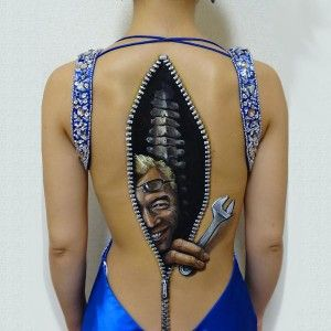 Man inside - 3D body tattoos and paintings