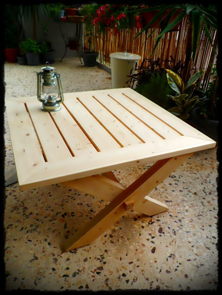 Outdoor coffee table made with recycled pallet wood and roof timbers...I hope you like it! :) Idea sent by giorgos karamoustos !…