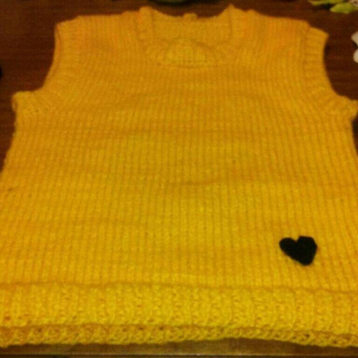 Chaleco amarillo sin mangas hecho a palillo #hechoconamor #handmade