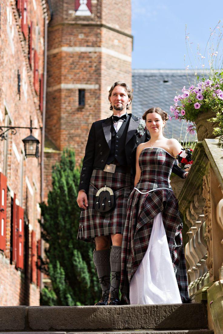 Noor & Alex's Scottish-inspired handfasting in The Netherlands ... TARTAN WEDDING DRESS! :D