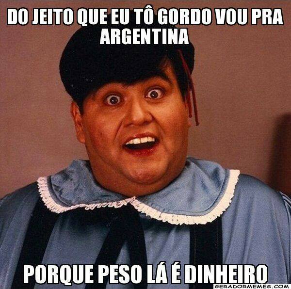 Na Argentina peso é dinheiro