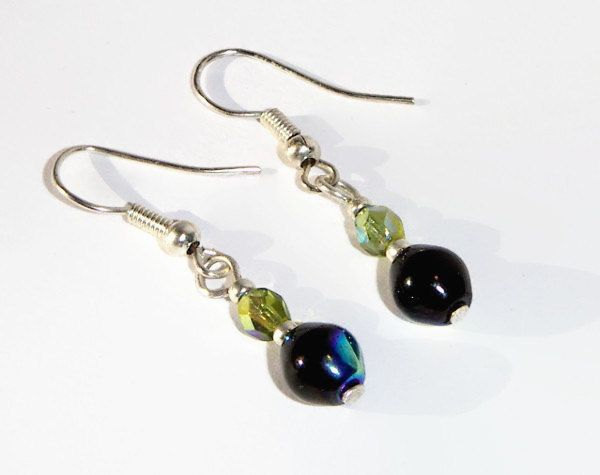 Bead Earrings, Beaded Earrings, Black and Olivine Earrings, Black and Green Earrings, Dangle Earrings, Unique Jewelry, Jewelry Set - pinned by pin4etsy.com