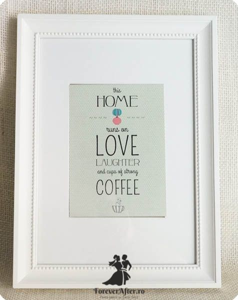 Rama cu mesaj Home, Love, Coffee | Accesorii nunta - Mesaje | ForeverAfter.ro