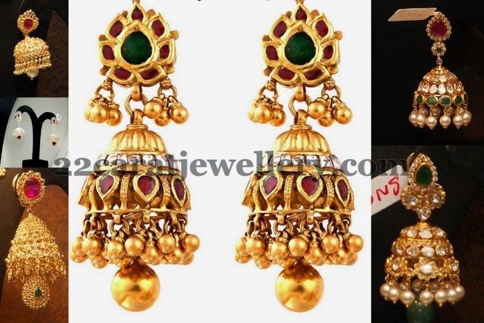 Jewellery Designs: Jhumkas from Malabar Gold Jewelry