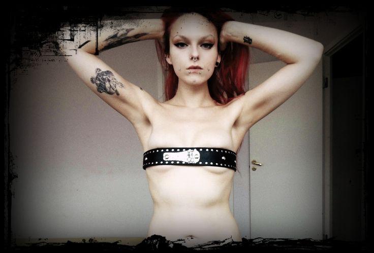 Dark, piercing, tattoo, Make up, weird, belt, redhead, nude, seminude, semi nude