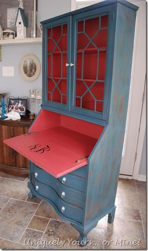 painted secretary desk--like the different color on the inside. Pretty.