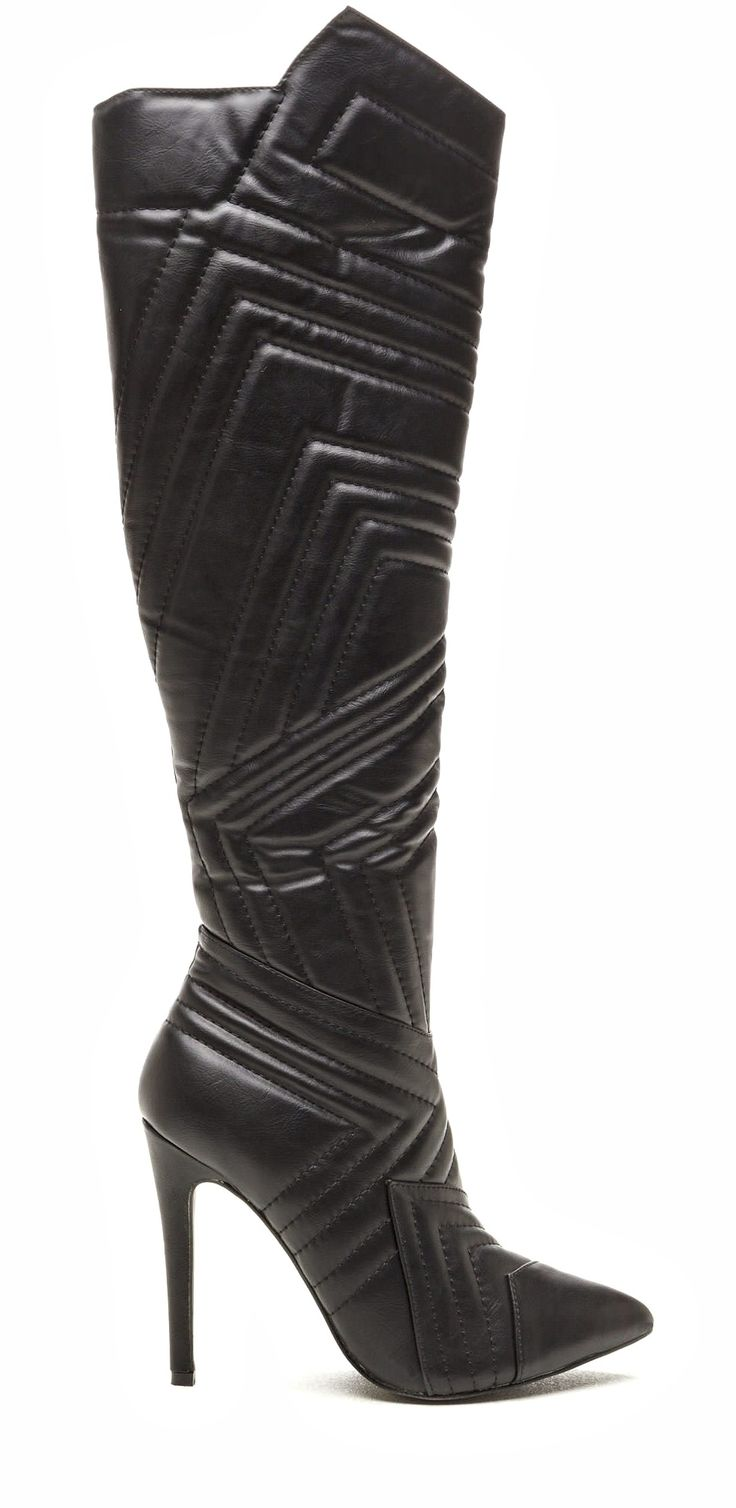 Womens PU Faux Leather Elastic Weave Detail Low Heel Knee High Boots