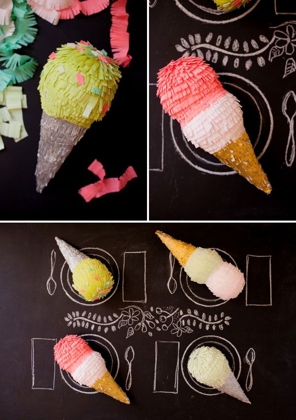 Ice Cream Cone Pinatas | Oh Happy Day!  @Jordan Bromley Ferney | Oh Happy Day! kills it again!!