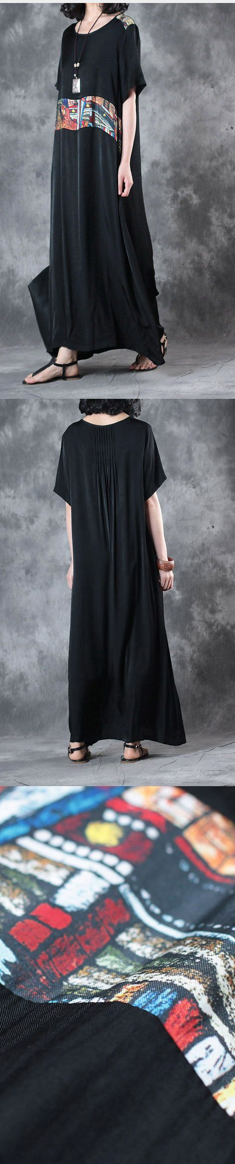 summer black baggy silk sundress plus size dresses short sleeve maxi dress