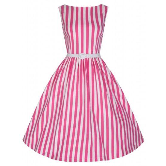 Lindy Bop Audrey Pink Stripe Retro šaty ve stylu 50. let. Kouzelné pink proužky Audrey. Přesně to pravé pro zahradní slavnosti, letní večírky, svatby - pro svědkyně a družičky. Nebo prostě jen na léto - s bílými páskovými botkami, kloboučkem a kabelkou. Velmi příjemný materiál (97% bavlna 3% elastan), pružný, dobře padnoucí střih s lodičkovým výstřihem, bílý pásek součástí, vzadu na zip. Pro bohatý objem sukně doporučujeme doplnit bílou nebo pink spodničkou z naší nabídky.