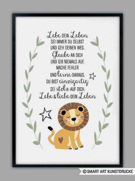 DU BIST EINZIGARTIG, Löwe Kunstdruck, Geschenk von Smart-Art Kunstdrucke auf DaWanda.com