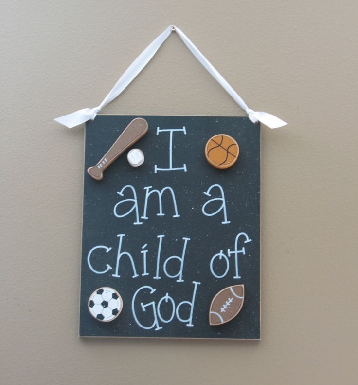 CHILD OF GOD (black) for boy bedroom and wall hanging decor with sports theme. $29.50, via Etsy.