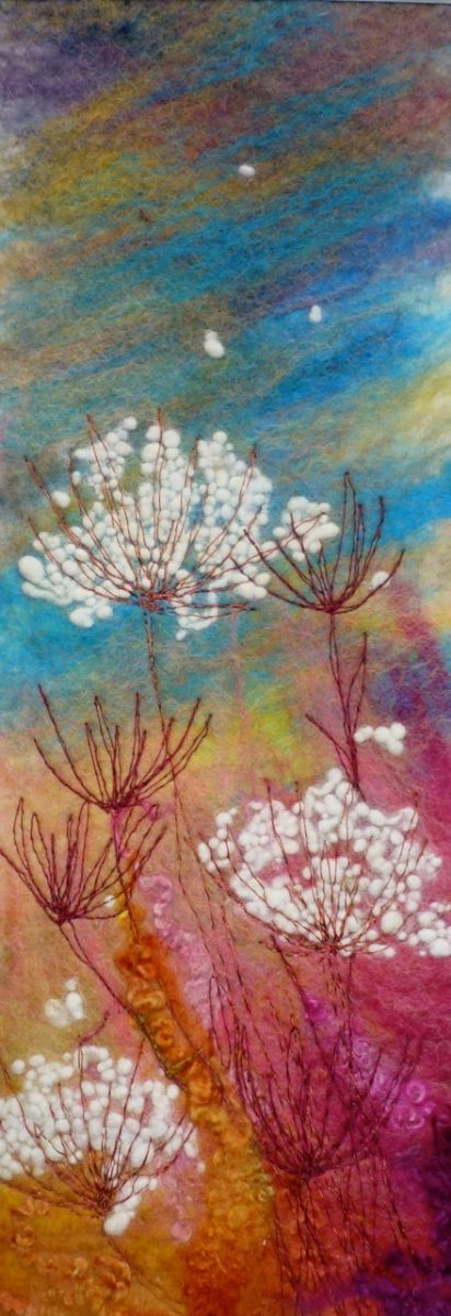 Vivid Meadow SOLD   -   Threlfall's Art Studio | Silk Paintings | Felt Paintings | Acrylics | Caren and Pete | Country, Town and Seascapes | Workshops |