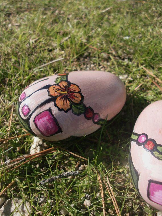FLIP FLOP painted rock fun by MyGardenRocks on Etsy