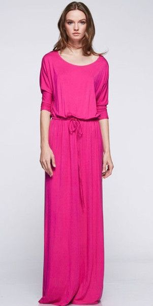 Drawstring Boyfriend Maxi Dress elbow 3/4 sleeves | Mode-sty #nolayering