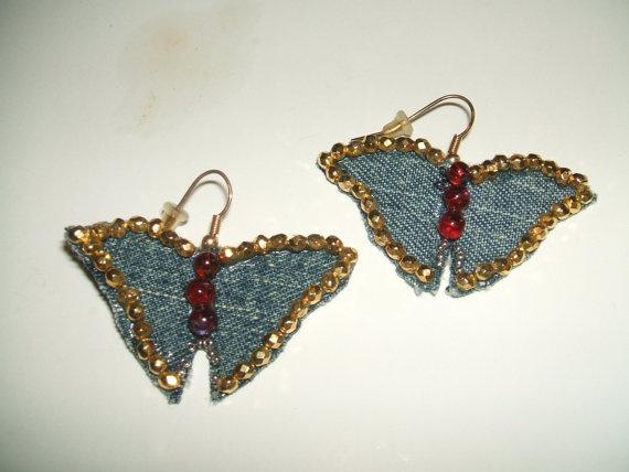 Denim Butterfly Earrings by QBeeds on Etsy, $8.00
