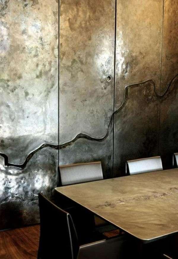 Wandfarbe Metalleffekt Farbemetalleffekt Farbemitmetalliceffekt Wandfarbemetalleffektblau Wandfarbemetalleff In 2020 Metallwande Inneneinrichtung Wandbehandlung