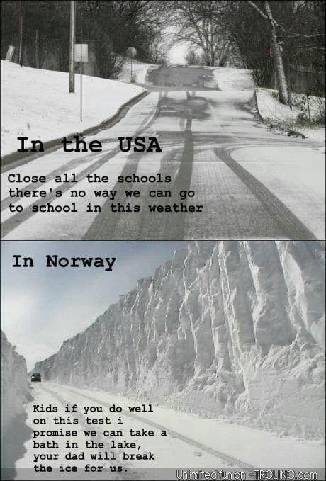 Snow storms - USA vs Norway