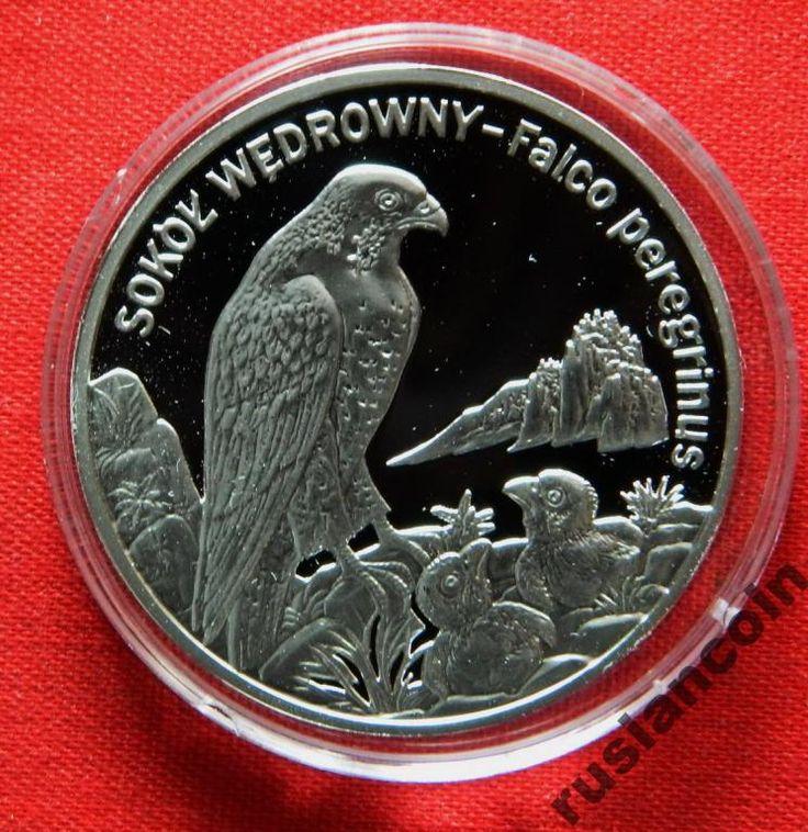 20 злотых птица Сокол фауна СЕРЕБРО 925 Польша