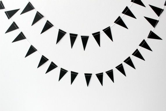 Black Geometric Paper Garland Triangle Paper by SweetPaperLove