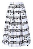 Women Elegant Piano Music Note Melody Printed High Waist Flared Skirt Party Dress Reviews