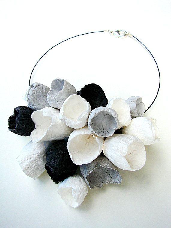 Eco friendly paper jewelry Choker Necklace with Gioielli di carta , riciclo creativo, eco design by Alessandra Fabre Repetto, €130.00
