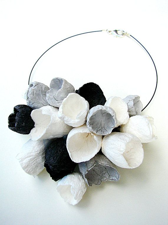Black and White Flower necklace, Wedding Necklace, Statement Necklace, Eco Friendly Paper Jewelry, Bib Necklace, Boho, Natural, Floral Style