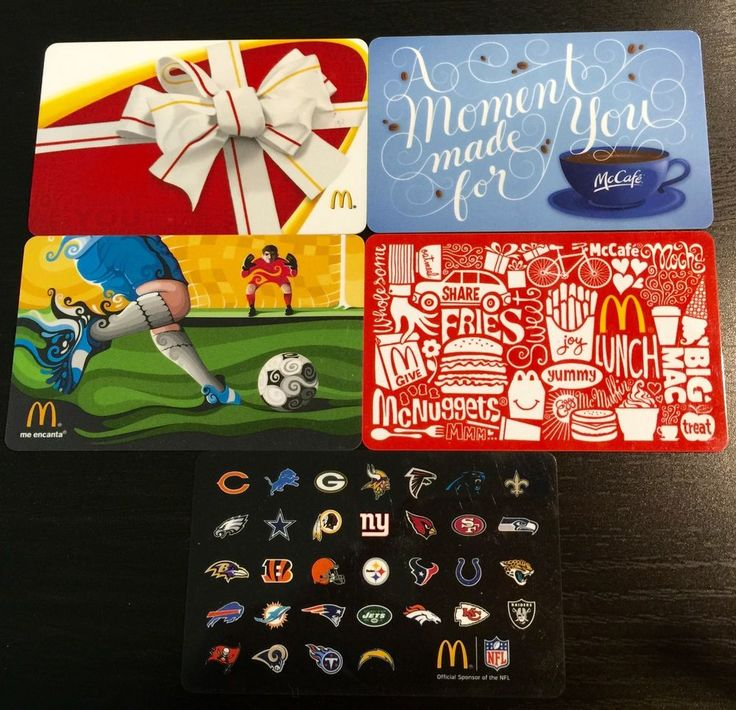 McDonalds gift card: No Value NFL Soccer Fabulous Fries McCafe Collectable