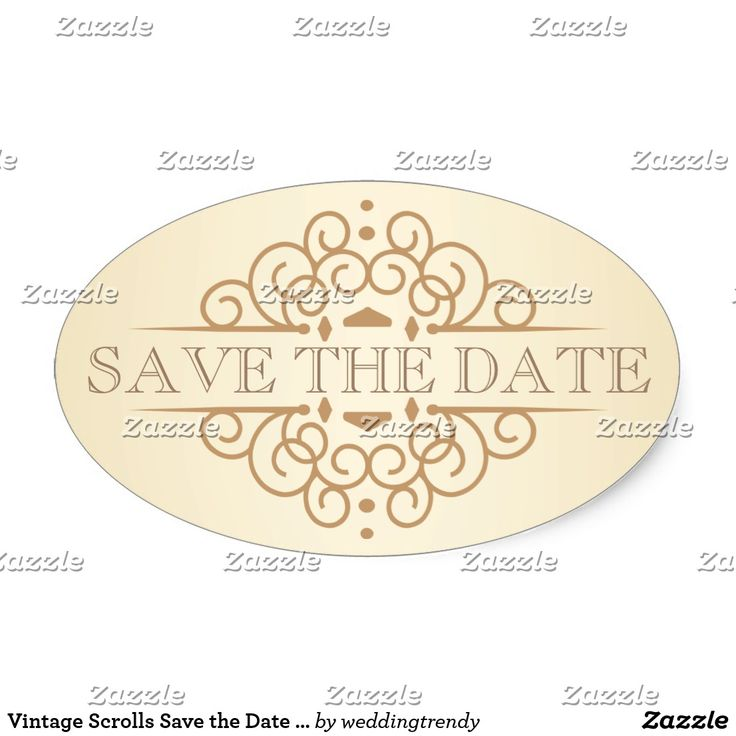 Vintage Scrolls Save the Date Wedding Labels Save the Date - Beautiful Vintage Victorian style with simple but classic curly scrolls on tea-stained ivory background with antique gold accents. Easy to edit template can be used as is for envelope seals, or change the text with your wedding date, bride and groom names, thank you, or your special message on favors. Elegant and classy engraved-look letterpress style retro typography with script calligraphy is suitable for both casual or…