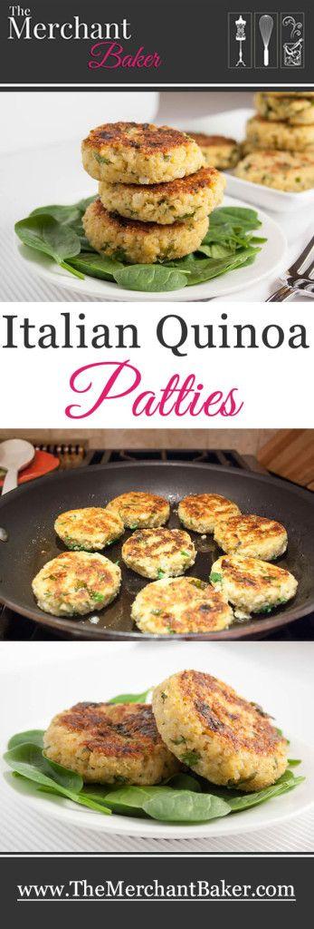 HAMBURGUESAS DE QUINOA -  Mezclar quinoa bien lavada, cocida y colada, con ajo picado, perejil picado, albahaca picada  y cebolla picada, todo groseramente. Agregar huevos, un poquito de leche y queso rallado. Salpimentar. Formar las hamburquesas, pasarlas por pan rallado y cocinar al horno en una placa aceitada con oliva, dándolas vuelta para que se doren bien de ambos lados ... si se acompaña con una ensaladita, tenemos un menú vegetariano, nutritivo y rico, rico !!!