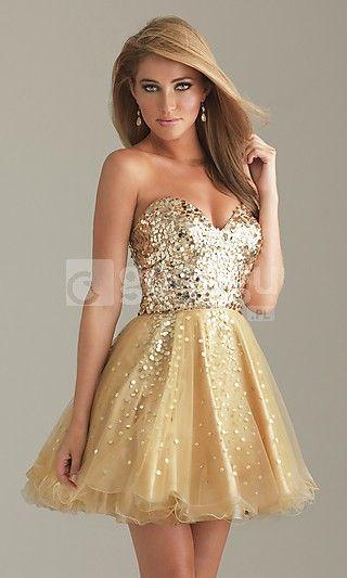krótka sukienka bez ramiączek z cekinami stanik kochanie i-line spódnica z tiulu.