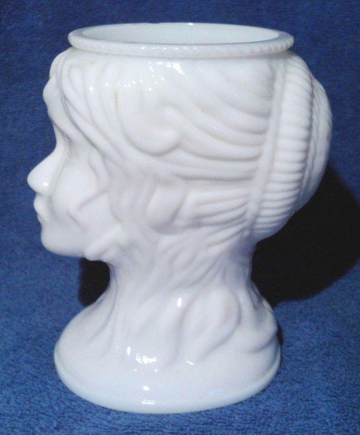 Vintage Milk Glass  Lady's Head  Hair in a Bun  Dish Vase Planter #unknown SOLD