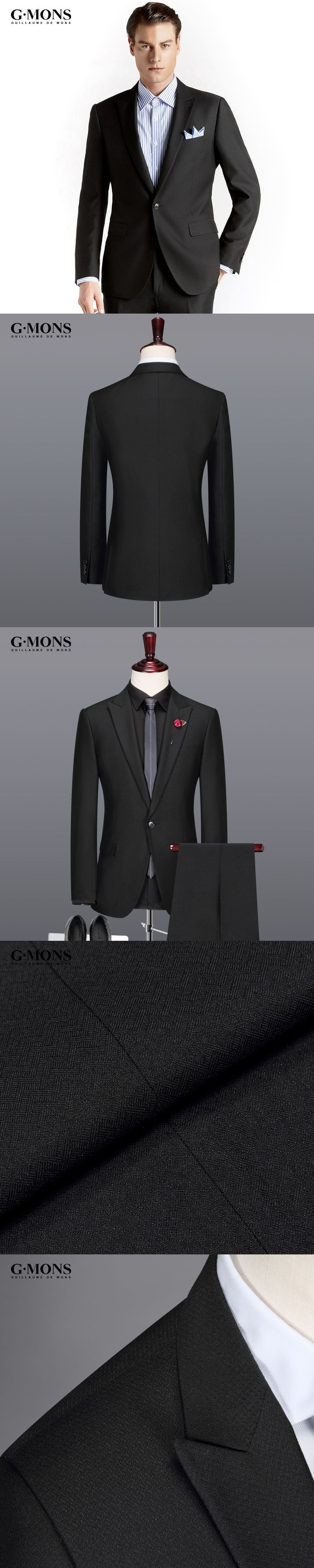 men suit fashion black new arrivals business casual groom wedding wear single breasted summer autumn latest coat pant 2pcs set