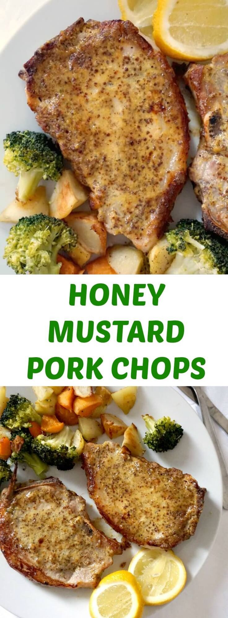 Baked Honey Mustard Pork Chops with broccoli, potatoes and carrots, a super delicious low-carb meal for two. Super simple to make, with a fantastic honey mustard sauce, this recipe is sheer bliss.