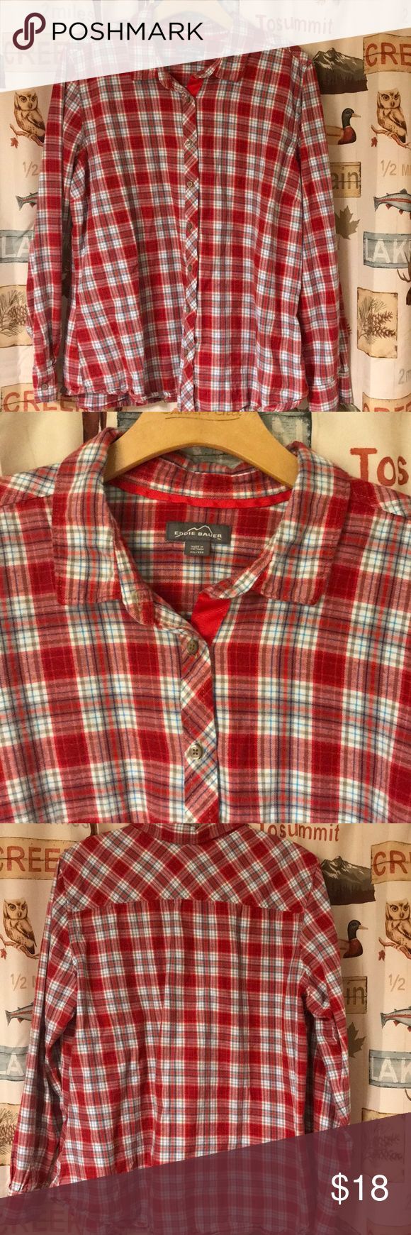 XXL (XL) Eddie Bauer Ladies Flannel Shirt Never worn, but has been washed Fits more like XL Eddie Bauer Tops