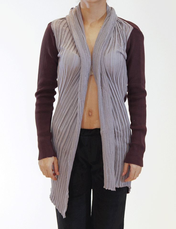 Cotton cardigan Different knit type panel Loose fit, one size by Ioanna Kourbela #cardigan #knitwear #kourbela