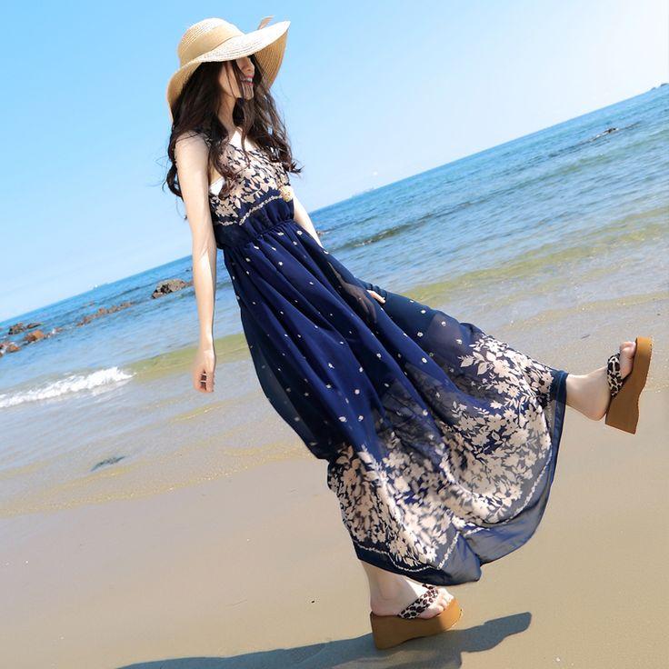 Mystery spectacol 2015 de vară rochie de plajă boem retro rochie sifon floral a fost rochie subțire de vară