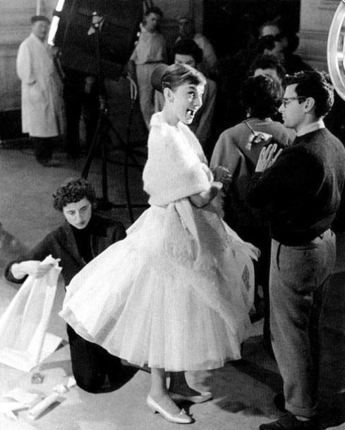 Richard Avedon and Audrey Hepburn on the set of Funny Face directed by Stanley Donen, 1957