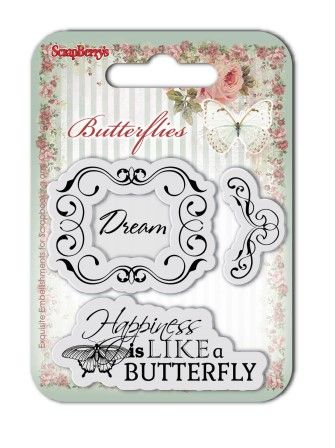 ScrapBerry's: Set of clear stamps (7*7cm) Butterflies – Dream