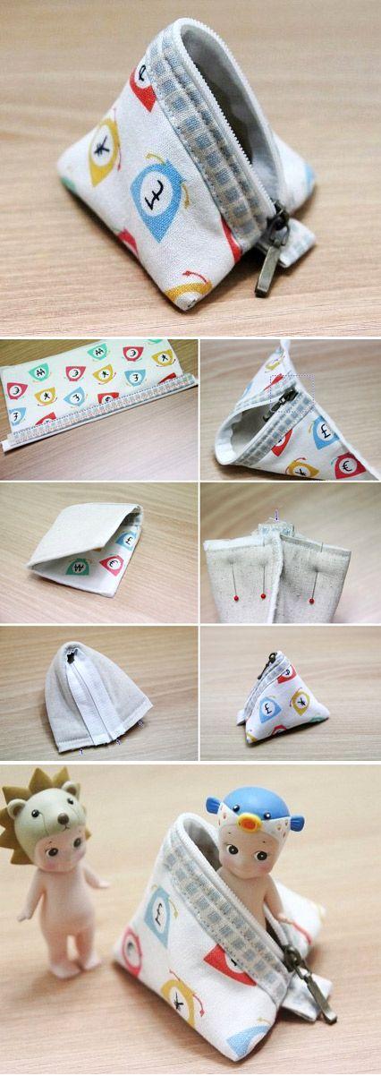 Mini Pyramid Pouch. DIY step-by-step Tutorial   http://www.handmadiya.com/2015/10/triangle-coin-purse-how-to-sew.html